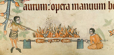 Roasting Meats On A Spit Art Print by British Library