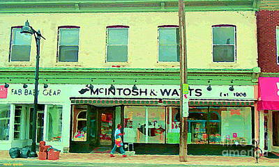 Painting - Rob Mcintosh And Watts The Glebe Giftware Shop Old Ottawa Scene Storefront Paintings Carole Spandau  by Carole Spandau