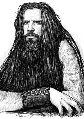 Rob Zombie Art Drawing Sketch Portrait Print by Kim Wang
