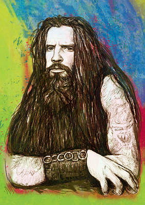Charcoal Mixed Media - Rob Zombie Stylised Pop Art Drawing Sketch Portrait by Kim Wang