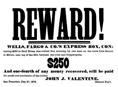 Robbery Reward, 1875 Art Print