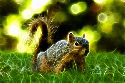 Robbie The Squirrel - 7376 - F Art Print