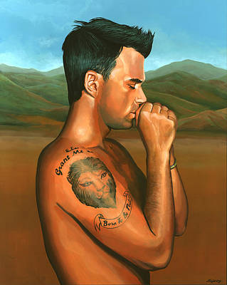 Singer Songwriter Painting - Robbie Williams 2 by Paul Meijering