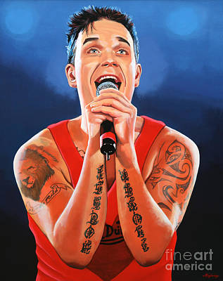 Concert Painting - Robbie Williams Painting by Paul Meijering