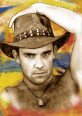 Charcoal Mixed Media - Robbie Williams Stylised Pop Art Drawing Potrait Poser by Kim Wang