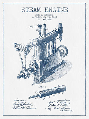 Robbins Steam Engine Patent Drawing From 1885 - Blue Ink Art Print