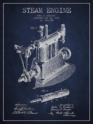 Steam Engine Digital Art - Robbins Steam Engine Patent Drawing From 1885 - Navy Blue by Aged Pixel