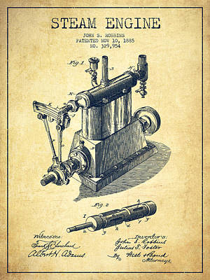Robbins Steam Engine Patent Drawing From 1885 - Vintage Art Print