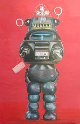 Forbidden Planet Painting - Robby The Robot by Karen Stitt