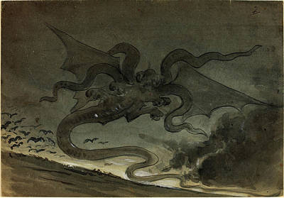 Green Monster Drawing - Robert Caney, British 1847-1911, Flying Monster by Litz Collection