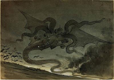 Robert Caney, British 1847-1911, Flying Monster Art Print