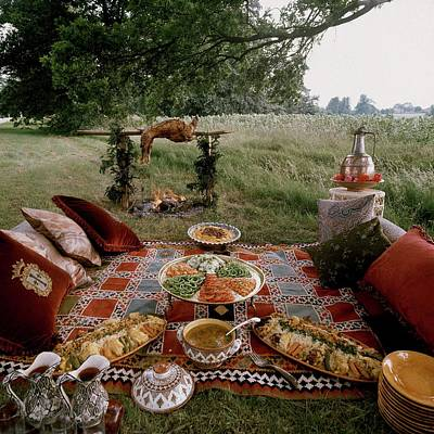 Flaming June Photograph - Robert Carrier's Moroccan Picnic In A Field by David Massey