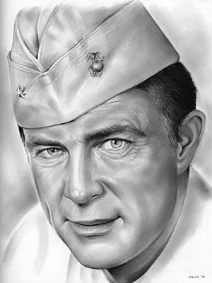 Wwii Drawing - Robert Conrad As Pappy Boyington by Greg Joens