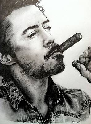 Iron Man Drawing - Robert Downey Jr. by Amy Albright