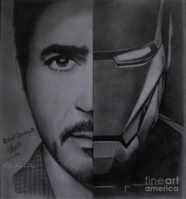 Iron Man Drawing - Robert Downey Jr As Iron Man by Dinushi Liyanage