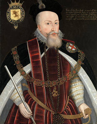Staff Painting - Robert Dudley, Earl Of Leicester Inscribed In Artists Hand by Litz Collection