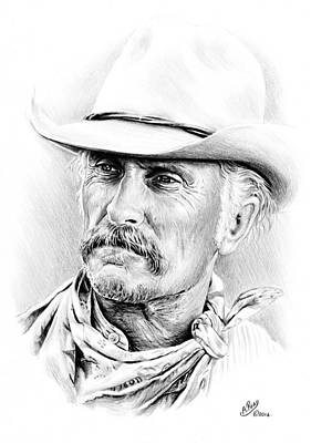 Texas Drawing - Robert Duvall by Andrew Read