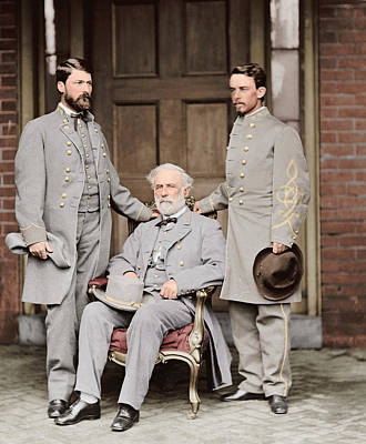 Custis Photograph - Robert E. Lee With Eldest Son And Aide by Stocktrek Images