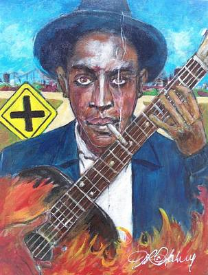 Painting - Robert Johnson At The Crossroads by Aaron Harvey