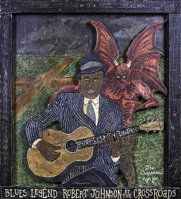 Robert Johnson At The Crossroads Art Print by Eric Cunningham