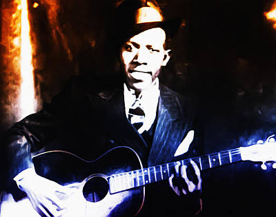Robert Johnson - King Of The Blues Art Print by Bill Cannon