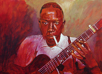 Musicians Paintings - Robert Johnson Photo Booth Portrait by David Lloyd Glover
