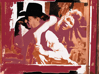 Abstract Alcohol Inks - Robert Mitchum hauls Angie DIckinson collage Young Billy Young  Old Tucson Arizona 1968-2013  by David Lee Guss