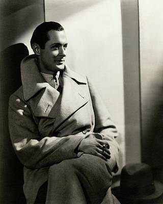 Robert Montgomery Wearing An Overcoat Art Print by Toni Von Horn