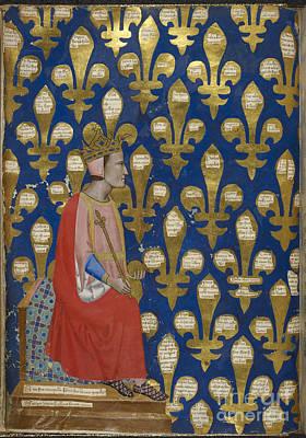 Fleur De Lis Photograph - Robert Of Anjou Enthroned by British Library