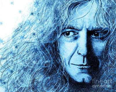 Robert Plant Drawing - Robert Plant Blue by Patrice Torrillo