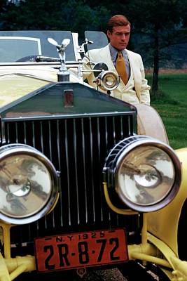 Robert Redford By A Rolls-royce Print by Duane Michals
