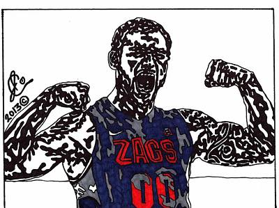 Ncaa Basketball Drawing - Robert Sacre by Jeremiah Colley