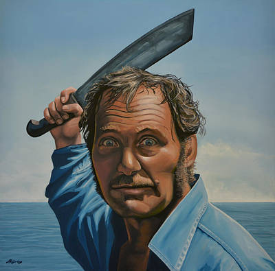 Film Painting - Robert Shaw In Jaws by Paul Meijering