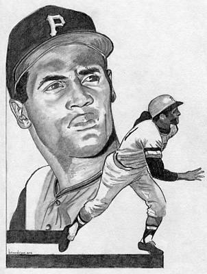 Pittsburgh Pirates Drawing - Roberto Clemente by Brian Condron