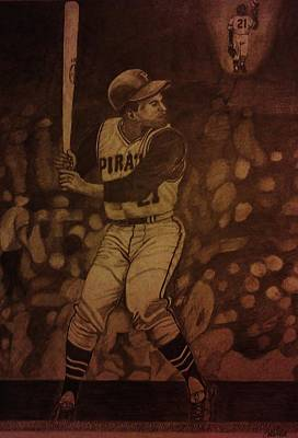 Clemente Drawing - Roberto Clemente by Christy Saunders Church