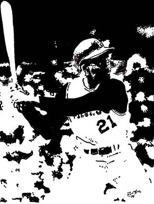 Clemente Drawing - Roberto Clemente Drawing by Rob Monte