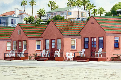 Robert's Cottages Oceanside Art Print by Mary Helmreich