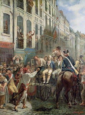 Robespierre 1758-94 And Saint-just 1767-94 Leaving For The Guillotine, 28th July 1794, 1884 Oil Art Print