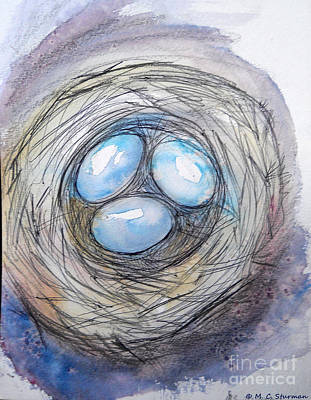 Painting - Robin Blue Nest by M C Sturman