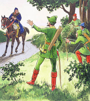 Highwaymen Drawing - Robin Hood, From Peeps Into The Past by Trelleek