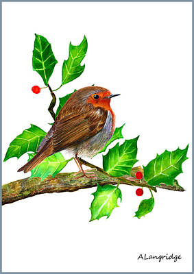 Holm Painting - Robin In Holly by Alison Langridge