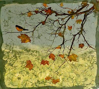 Bird Batik Tapestry - Textile - Robin In Maple by Carolyn Doe
