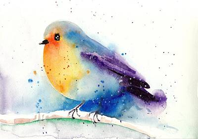 Robin In Snow - Winter Art Bird Art Print by Tiberiu Soos
