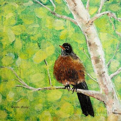 Painting - Robin On Aspen by Susan Fisher