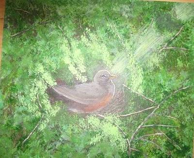 Painting - Robin On Her Nest by Lorraine Bradford