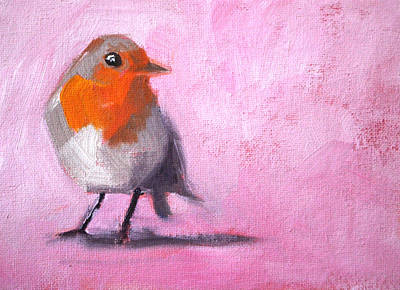 Painting - Robin On Pink by Nancy Merkle