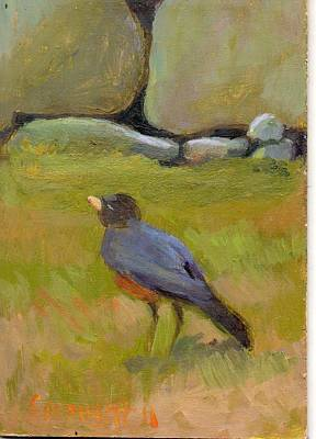 Stonewall Painting - Robin by Sara Drought Nebel