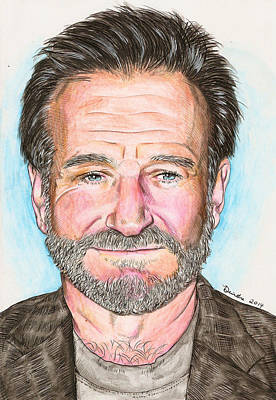 Mixed Media - Robin Williams - Watercolor by Deirdre DeLay