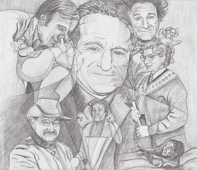 Drawing - Robin Williams A Lifetime Of Laughter by Beverly Marshall