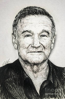 Saint Jude Drawing - Robin Williams by Michael Volpicelli